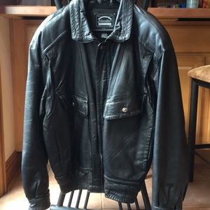Leather Jacket Black Men's LT Used St John's Bay